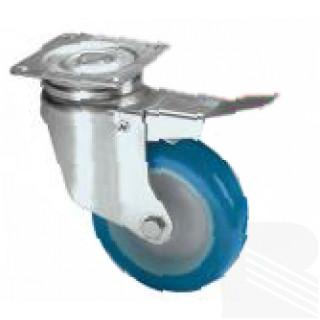Ruota girevole con freno nylon poliuretano blu - arredamento