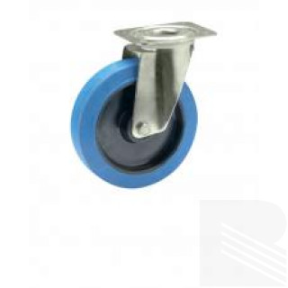 Ruota gomma blu supporto acciaio inox girevole