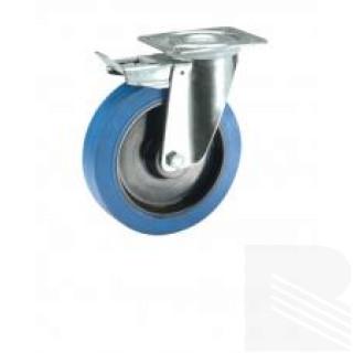 Ruota gomma blu supporto acciaio inox girevole freno